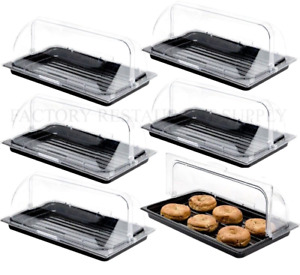 6 Pack Roll Top Cover Tray Countertop Display Bakery Donut Pastry Sample Case