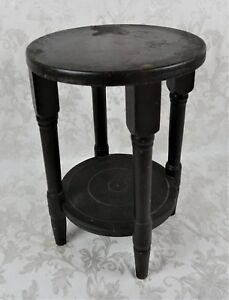 Antique 19th Century Wood Primitive Plant Stand Pedestal Side Table 18 Signed