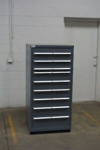 Used Lista 9 Drawer Cabinet Industrial Tool Parts Storage Box 1248 Vidmar