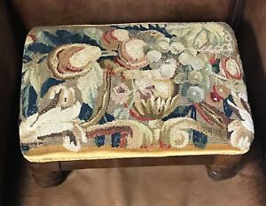 17th Century French Aubusson Verdure Panel Flowers Fruit Antique Foot Stool