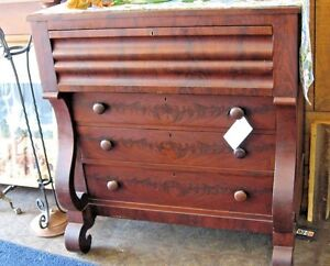 Antique Empire Style Mahogany Chest Of Drawers Furniture 46 Tall And 22 Dip