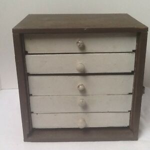 Primitive Apothecary Wood Chest Small Hand Made Of 5 Drawers Dresser Antique