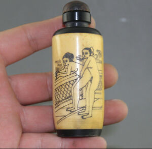 Rare Chinese Hand Carved Man Woman Cattle Bone Snuff Bottle