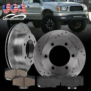 Front Kit Drilled Slotted Brake Rotors Ceramic Pads For 95 04 Toyota Tacoma