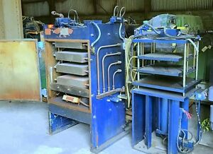 2 hydraulic Presses 100 Ton Molding 37 Ton Heating Or Cooling Platen Press