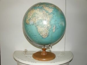 Vintage World Globe With Wooden Stand And Light 13