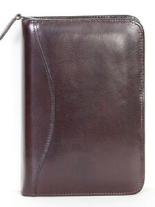 Scully Italian Leather 3 Ring Zippered Monthly Weekly Planner Agenda Mahogany