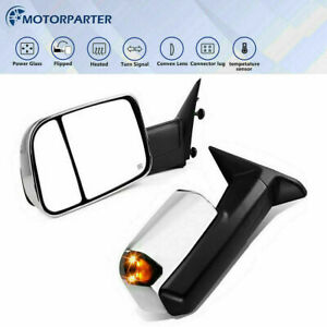 For 09 17 Ram 1500 2500 3500 Pair Power Heated Tow Mirrors W temperature Sensor