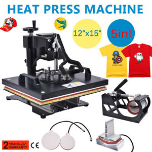 5 In 1 Digital 15 x12 Transfer Heat Press Machine Sublimation T shirt Cap Swing