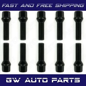 10 Pcs Bmw Black M12x1 5 Lug Bolts 40mm Shank Conical Seat Wheel Lug Bolts