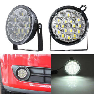 2pcs 12v 18led Drl Round Car Fog Light Driving Light Bright White Drl Spotlight