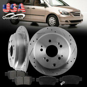 Front Rear Drilled Slotted Brake Rotors Ceramic Pads For 2005 2010 Honda Odyssey