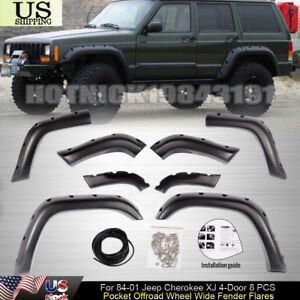 For 84 01 Jeep Cherokee Xj 4 Door 8 Pcs Pocket Offroad Wheel Wide Fender Flares