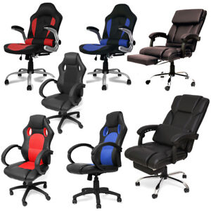 Office Chair Video Gaming Armchair Ergonomic Headrest Footrest Pu Leather