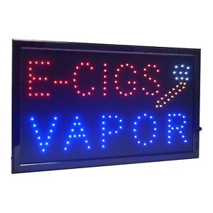 Large E cigs Vapor Led Light Business Open Sign Chain Switch 21 5 x13