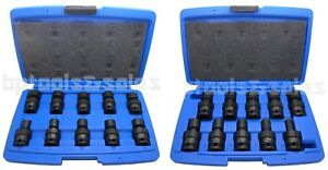 20pc 3 8 1 2 Dr Metric Shallow Universal Impact Ball Swivel Socket Set