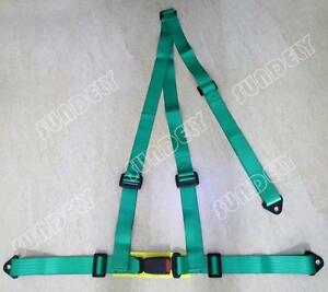 Sundely Car Vehicle 3 Point Racing Safety Harness Strap Seat Belt Bolt In Green