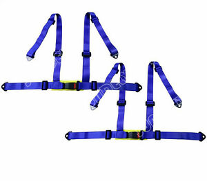Pair Blue 3 4 Point Racing Seat Belt Harness For Car track Day off Road Buggy