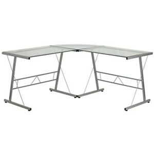 Modern Silver Frame Computer L Shaped Office Desk With Tempered Glass Top Table