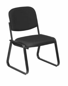 Office Star Deluxe Sled Base Fabric Visitors Chair With Designer Plastic Shel