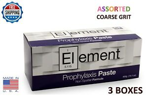 Element Prophy Paste Cups Assorted Coarse 200 box Dental W flouride 3 Boxes