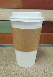 Pack Of 100 Paper Coffee Hot Cup 16 Oz W White Cappuccino Lids And Sleeves