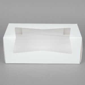 25 Window Bakery Box 9x4x3 5 White For Cupcake Cookie Candy Pastry Favor Gift