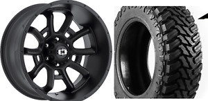 20x10 Vision Bomb Black 35 Mt 8x180 Wheel Tire Package Chevy Gmc 2011 And Newer