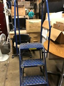 Excellent Industrial Factory Shop Metal Rolling 3 Step Ladder W Railing