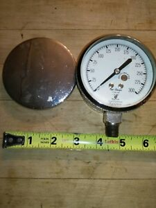 Vintage Marsh Corp Steampunk Steam Pressure Gauge With Cover Stainless Steel