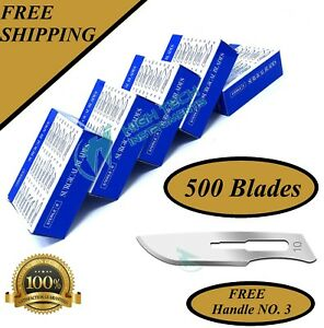 Lot Of 500 Pcs Sterile Surgical Blades 10 With 1 Free Scalpel Knife Handle 3