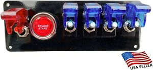 12v Switch Panel Black Powder Coat 4 Blue Switch 1 Red Switch Push Start Button