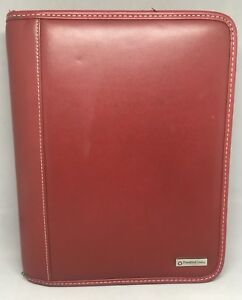 Franklin Covey Planner Classic Red Leather Zip Around 7 Ring Agenda Organizer