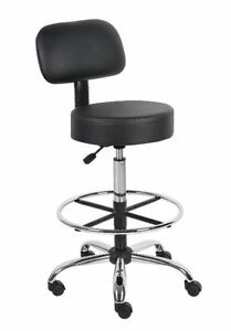 Medical Exam Stool Adjustable Height Lab Drafting Chair Wheeled With Back Black