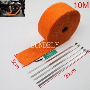 2 Orange 10meter Exhaust Header Fiberglass Heat Wrap Tape 5 Ties Kit