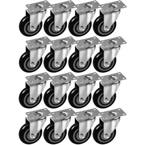 16 Pack 4 Inch Caster Wheels Swivel Plate On Black Polyurethane Wheels Pu 400lb