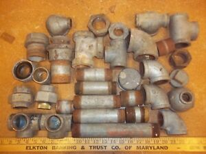 Lot Vintage Pipe Fittings 1 5 Usa 90 s Tee Etc Steampunk Lamp Part