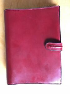 Compact Red Franklin Covey Planner Full Grain Leather Tabrings Binder 9 X 7 X 2
