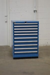 Used Lista 10 Drawer Cabinet 42 Inch High Industrial Tool Storage 1262 Vidmar
