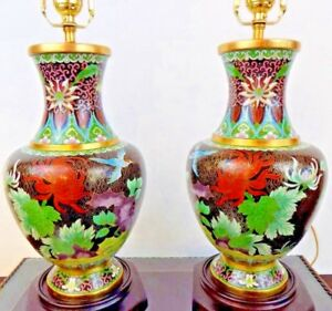 Pair Of 26 Lamps Top Quality Beijing Cloisonne Porcelain Vase Chinese Japanese