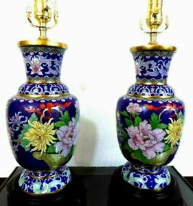 Pair Of 28 Collector Quality Cloisonne Vase Lamps Porcelain Chinese Japanese
