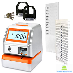 Time Clock Machine Recorder Digital Electronic Employee Punch Cards Attendance