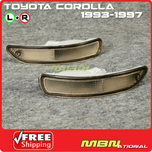 For 93 97 Toyota Corolla E100 Front Bumper Signal Light Lamp Smoked Lens