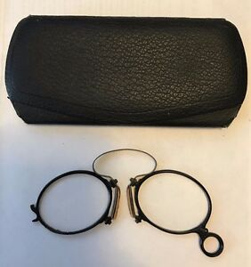 Antique Victorian Pince Nez Eye Glasses In Case Late 1800 S