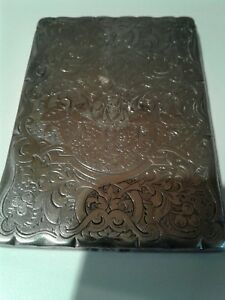 Antique Victorian Solid Sterling Silver Card Case Birmingham 1869