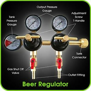 Co2 Beer Regulator Dual Pressure Keg T style Handle 0 To 60 Psi 0 To 3000