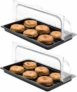 2 Pack Roll Top Cover Tray Countertop Display Bakery Donut Pastry Sample Case