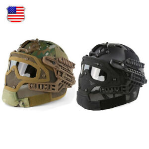 Multi-function Tactical Airsoft Paintball Protective Fast Helmet wGoogles Mask