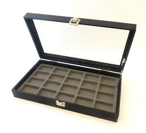 Glass Top Black Grey 20 Lighter Display Organizer Storage Case Lid Support