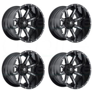 4 new 20 Fuel Nutz D251 Wheels 20x10 8x6 5 8x165 1 19 Black Milled Rims